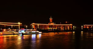 Night scene Tian Jin Railway station Royalty Free Stock Photography