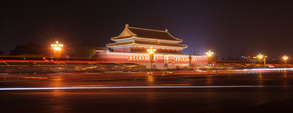 Night scene of the Tiananmen Gate Stock Photos