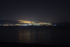 Night scene of Tiberias from the opposite shore of Kinneret Lake. Sea of Galilee Royalty Free Stock Images