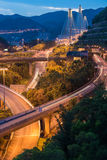Night scene of Ting Kau suspension bridge Royalty Free Stock Photography