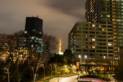 Night scene of Tokyo Tower as seen from Tokyo Midtown,Minato-Ku,Tokyo,Japan. Tokyo Tower is a communications and observation tower in the Shiba-koen district of Royalty Free Stock Image