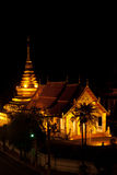 Night scene at top view ancient temple. Royalty Free Stock Photos