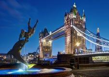Night scene of Tower Bridge, London royalty free stock photo