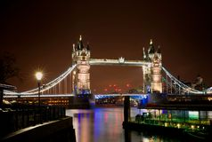 Night scene of Tower Bridge Stock Photos