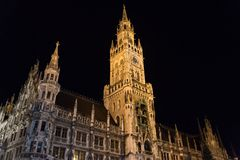 Night scene of town hall at the Marienplatz. Munich, Germany Royalty Free Stock Photography