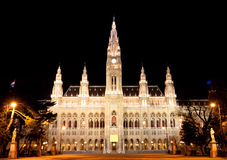 Town hall Vienna at night Stock Image