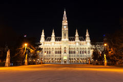Night scene with town hall in Vienna Stock Images