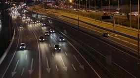 Night scene of traffic and roads stock footage
