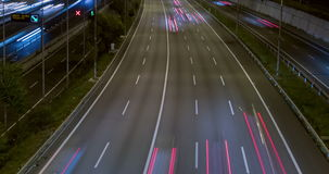 Night scene of traffic and roads.Time Lapse - Long exposure - 4K. (8). Night scene traffic and roads, top and rear view of entry and exit of Barcelona.Time Lapse stock footage