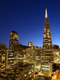Night Scene of Transamerica pyramid Royalty Free Stock Images