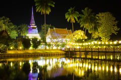 Night scene of traphangthong temple in Sukhothai, Thailand Stock Photos