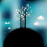 Night scene tree silhouette. Tree silhouette on night time starry sky. Galaxy, universe, nature vector illustration. Countryside abstract landscape royalty free illustration