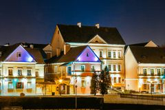 Night Scene Trinity Hill In Minsk, Downtown Nemiga Royalty Free Stock Images
