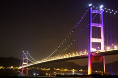 Night scene of Tsing Ma Bridge - Hong Kong stock photo