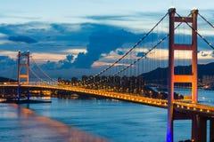 Night scene of Tsing Ma bridge Stock Image