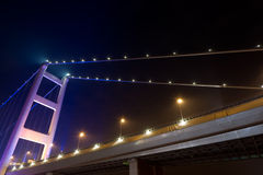 Night scene of Tsing Ma Bridge Stock Images
