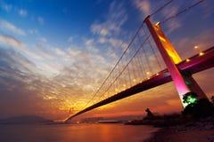 Night scene of Tsing Ma Bridge Stock Photos