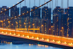 Night scene of Tsing Ma bridge residence building Royalty Free Stock Photo