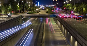Night scene of urban traffic.Time Lapse - Trail effect - Long exposure - 4K. (03). Night scene urban traffic, top and front view, of Barcelona.Time Lapse - Trail stock video