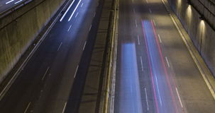 Night scene of urban traffic.Time Lapse - Trail effect - Long exposure - 4K. (04). Night scene urban traffic, top and front view, of Barcelona.Time Lapse - Trail stock footage