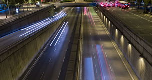 Night scene of urban traffic.Time Lapse - Trail effect - Long exposure - 4K.(06). Night scene urban traffic top and front view, of Barcelona.Time Lapse-Trail stock footage