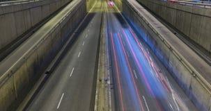 Night scene of urban traffic.Time Lapse - Trail effect - Long exposure - 4K. (11) stock video footage