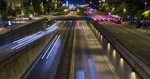 Night scene of urban traffic.Time Lapse - Trail effect - Long exposure - 4K. (02) stock video