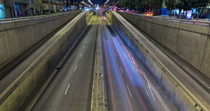 Night scene of urban traffic.Time Lapse - Trail effect - Long exposure - 4K.(08) stock footage