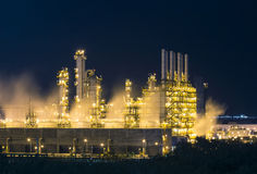Night scene of vapour stream in industrial plant Stock Image