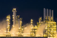 Night scene of vapour stream in industrial plant Stock Images