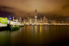 Night scene of Victoria habour, Hong Kong Royalty Free Stock Photography