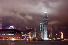 Night scene of the Victoria Harbour - Hong Kong stock images