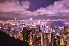 Night scene of Victoria Harbour on the Peak Royalty Free Stock Photography