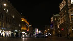 Night Scene in Vienna. Night Scene of the center of Vienna, 4K stock footage