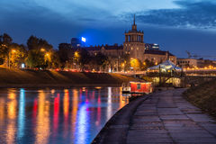 Night scene of Vilnius. By Neris stock photo