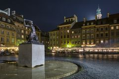 Night scene of Warsaw mermaid monument Royalty Free Stock Image