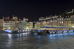 Night scene of Warsaw Old City Square, Royalty Free Stock Photos