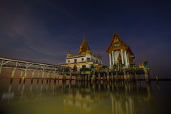 Night scene of wat hongtong temple important landmark and travel Stock Photography