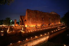 Night scene at wat mahae yong, ayuttaya, thailand Stock Image