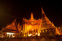 Night scene of Wat Phra Kaew is the temple. Royalty Free Stock Photos