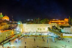 Night scene of the Western Wall Stock Image