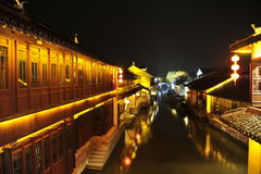 Night scene in Zhouzhuang. Famous water village Zhouzhuang in Jiangsu ,China. The houses by the river are built several hundred years ago with a typical royalty free stock photography