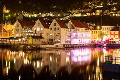 Night scenery of Bergen, Norway Royalty Free Stock Photo