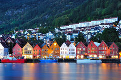 Night scenery in Bergen, Norway Stock Photography