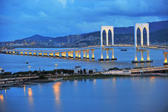 The night scenery of bridge in Macau Royalty Free Stock Photography