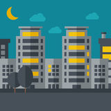 Night scenery of building city with moon Stock Photo