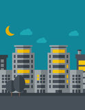 Night scenery of building city with moon Stock Image