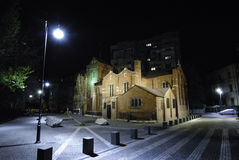 English Church of Resurrection at night. Night scenery with The Anglican Church in Bucharest. It is situated at a crossroad of three streets. In front there is a Royalty Free Stock Photo