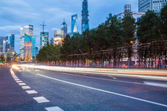 Night scenery of the city, the light trails of city traffic Stock Photography