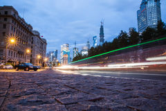 Night scenery of the city, the light trails of city traffic Royalty Free Stock Photos